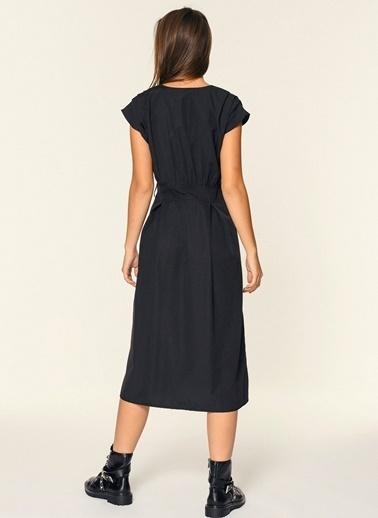 Loves You Düşük Kol Gipeli Elbise Siyah